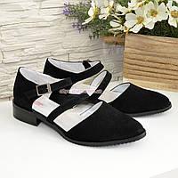 Женские замшевые туфли на низком ходу, цвет черный, фото 1