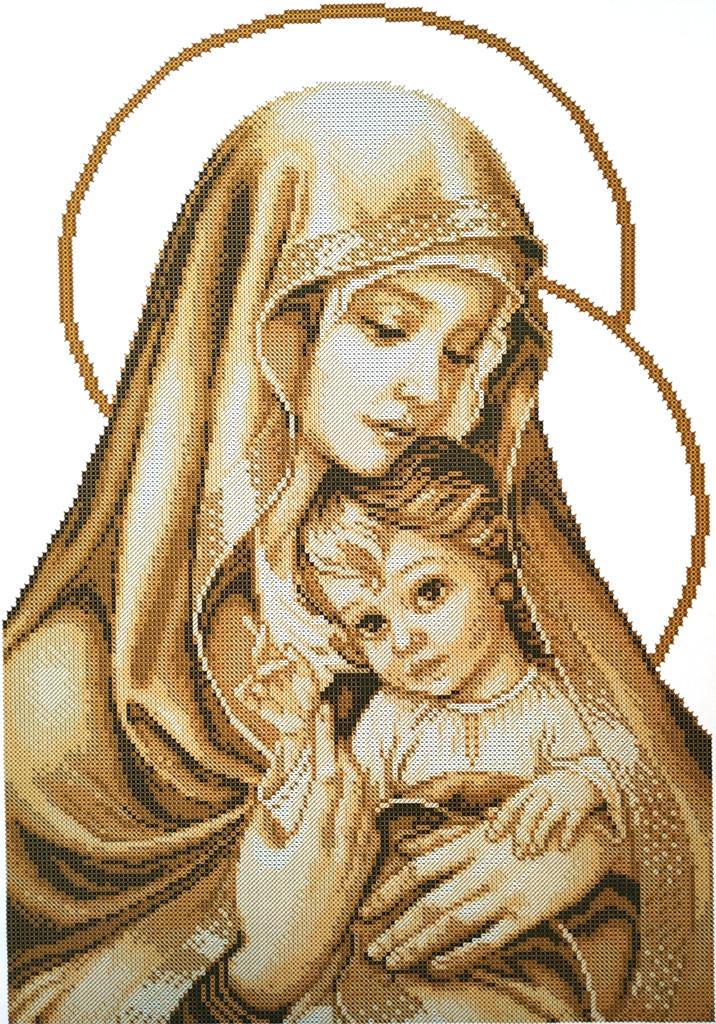 КРВ-61. Схема для вишивки бісером Мадонна і дитя (сепія)