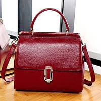 Жіноча шкіряна сумка червона середнього розміру опт, фото 1