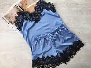 Женская пижама шелковая майка и шорты голубой 03