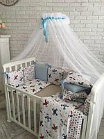 """Комплект в кроватку (бортики - подушки) Baby Design """"Аэроплан"""" (натуральный наполнитель - ekotton)"""
