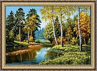 """Картина гобеленовая """"Дивная пора Осень"""" 50х70см в багетной раме G311"""