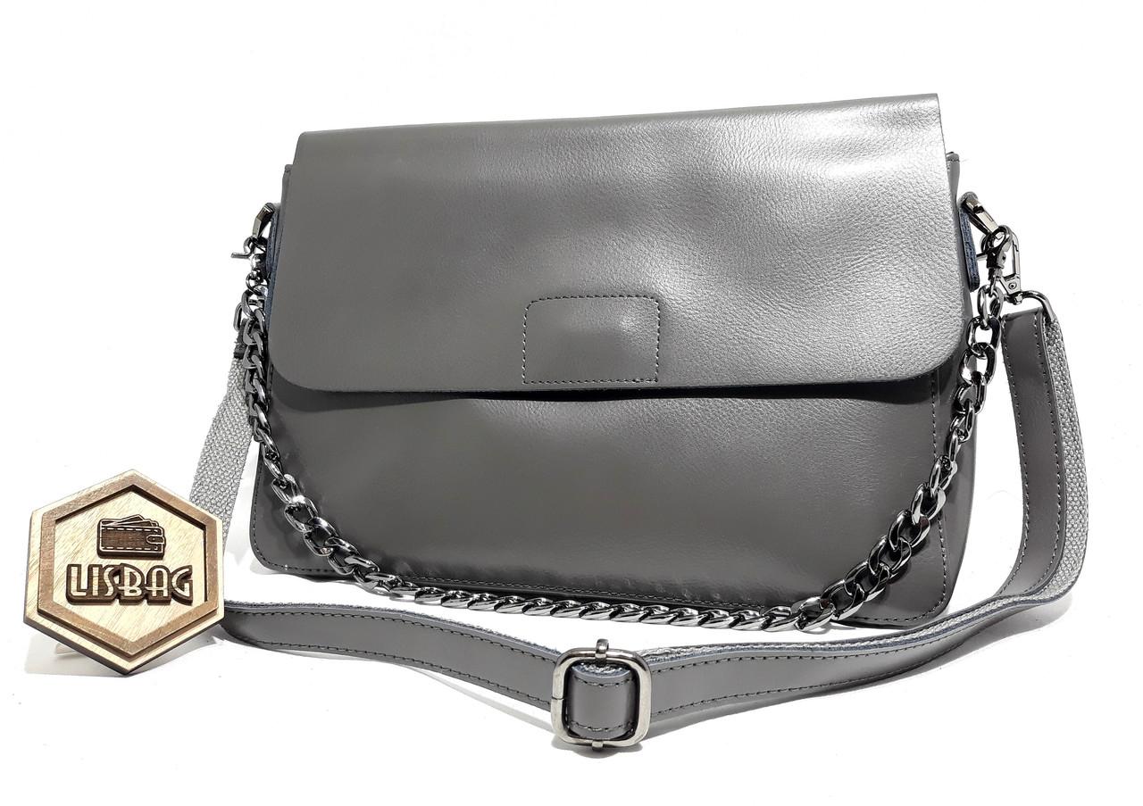 Женская небольшая удобная сумка из натуральной кожи для повседневной носки  Серая 27cf10c6dc4