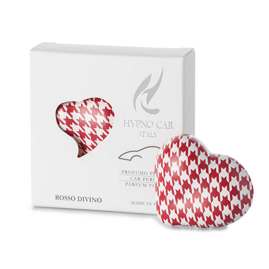 Парфюм для авто Сердце - красный принт, аромат ROSSO DIVINO Hypno Casa