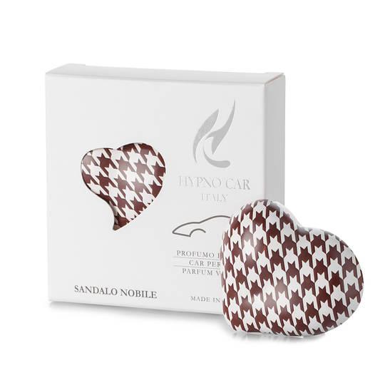Парфюм для авто Сердце коричневый принт, аромат SANDALO Nobile Hypno Casa