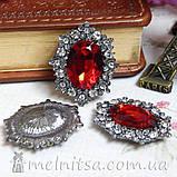 Камень в оправе античное серебро со стразами 30х25, красный, фото 2