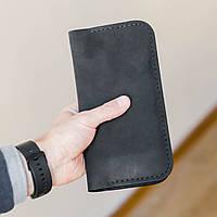 Мужской кошелек портмоне из натуральной кожи ручной работы Revier черный для денег и телефона