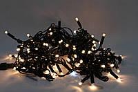 "Гирлянда ""STRING"" (НИТКА)уличная 8м (100 led) тепл/бел цвет с мерцанием (флеш) черный тонкий провод IP 44"
