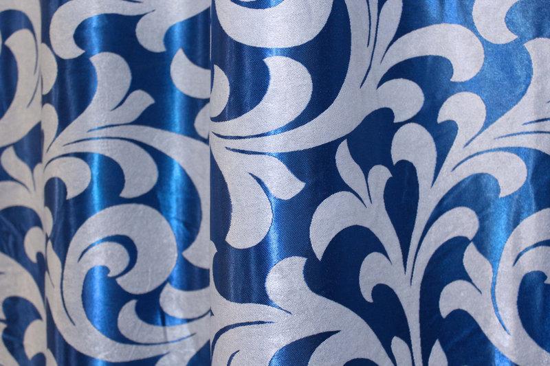 "Двусторонняя ткань блэкаут ""Вензель"". Высота 2,8м. Цвет синий. 097ш"