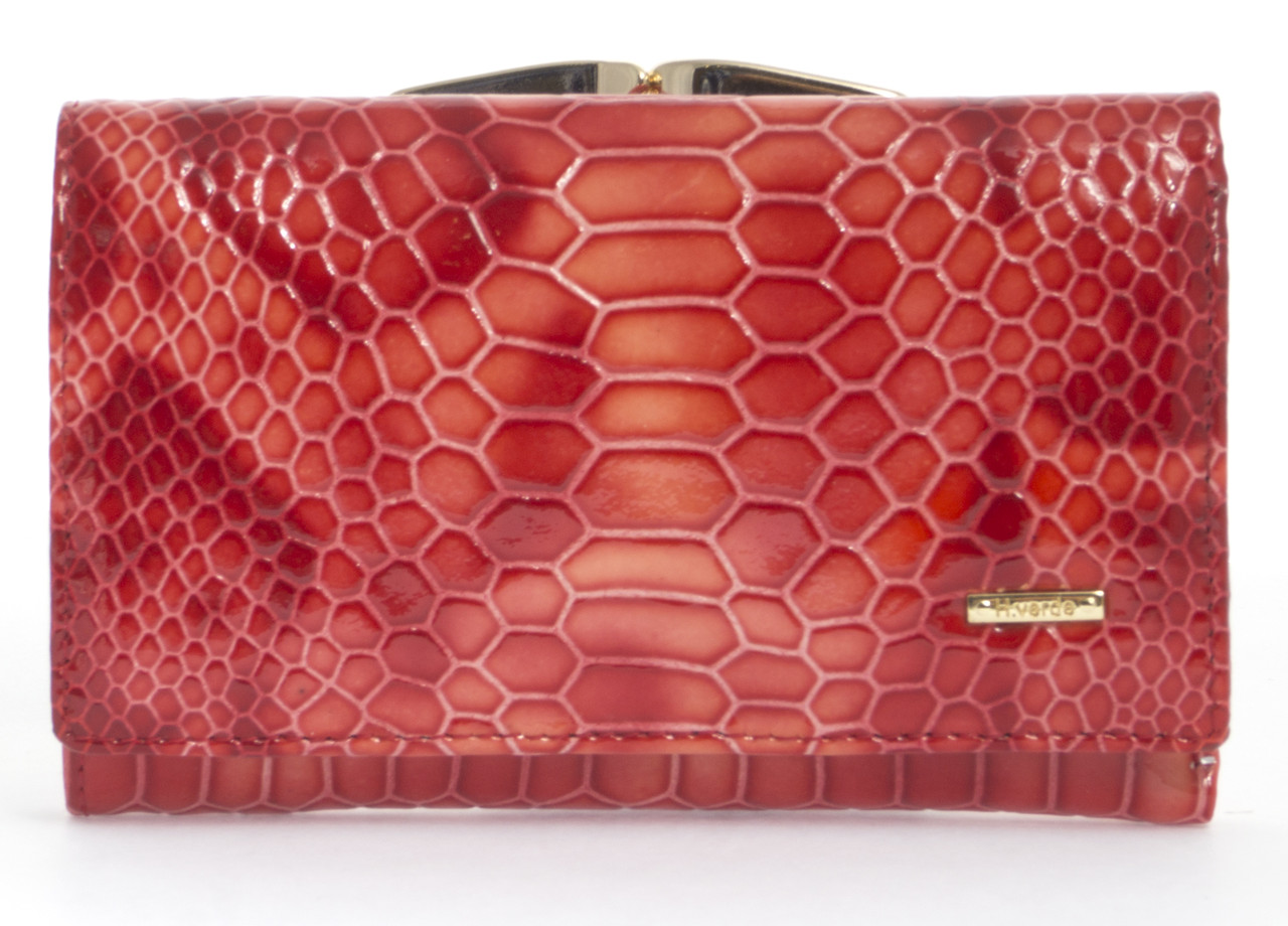 Компактный женский кожаный кошелек лак под рептилию H.VERDE art. 2103-D58 розовый