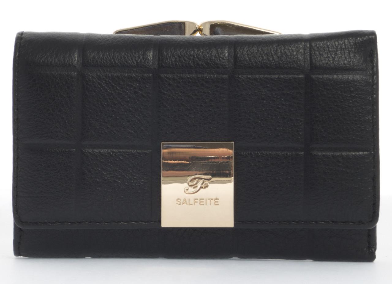 Маленький надежный женский кожаный кошелек высокого качества SALFEITE art. 2103-YF2 черный