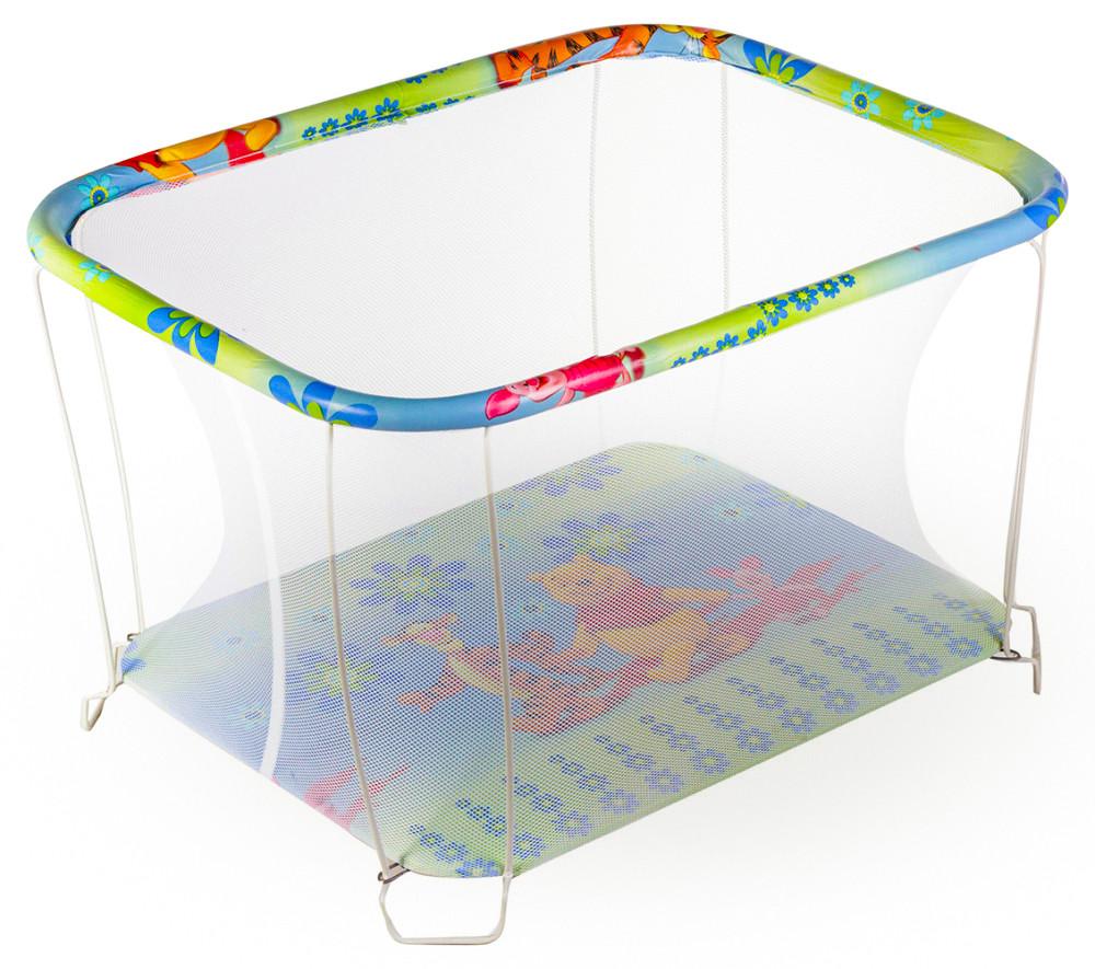 Манеж детский игровой KinderBox классический Винни пух с мелкой сеточкой (kmk 201)