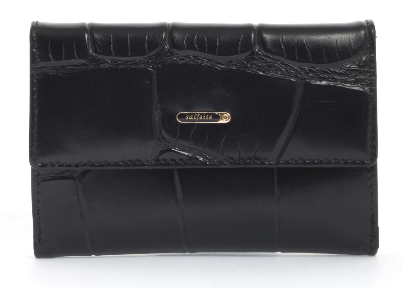 Стильный шикарный небольшой женский кошелек высокого качества под рептилию SALFEITE art. 2619T-E96 черный