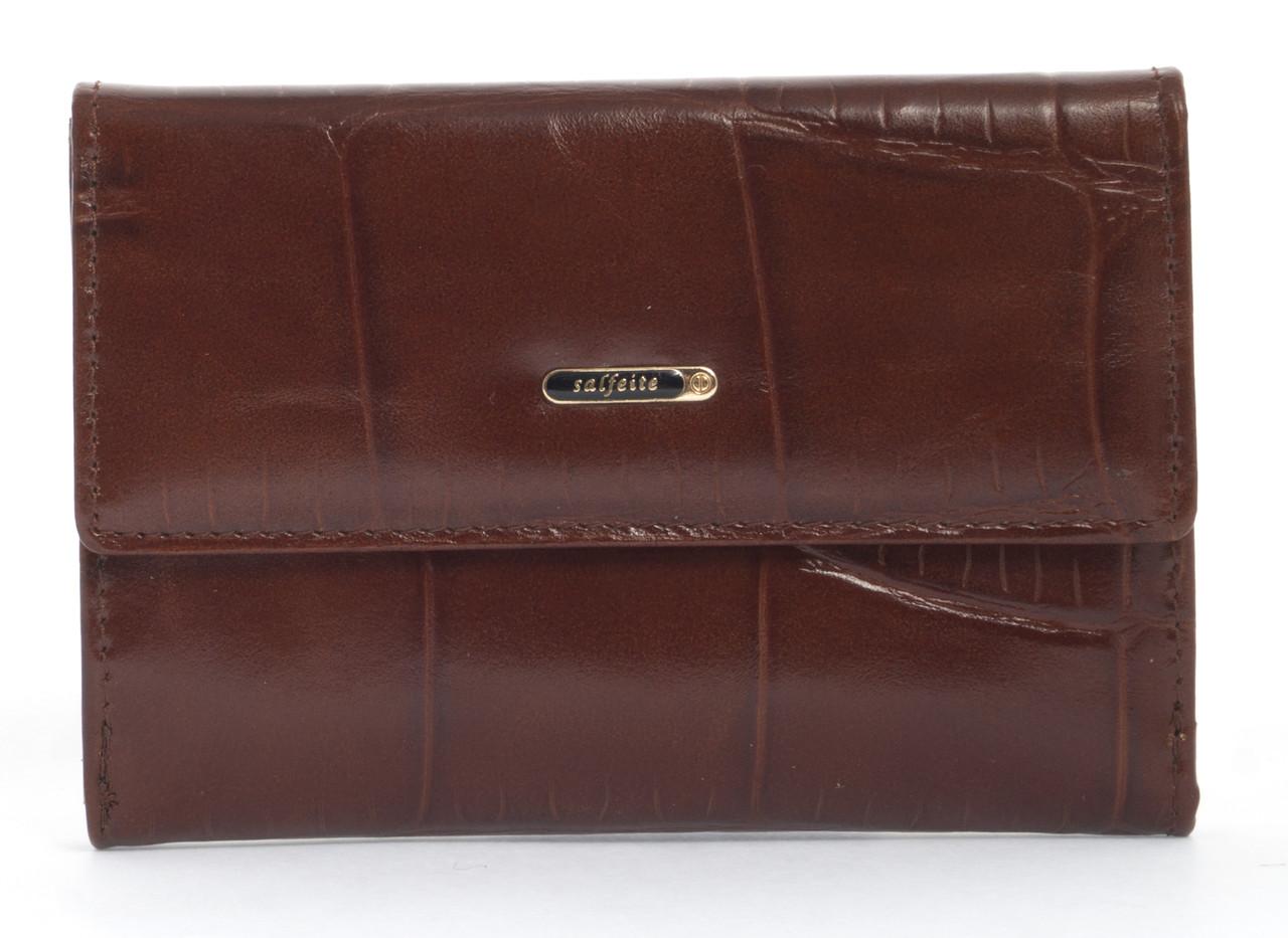 Стильный шикарный небольшой женский кошелек высокого качества под рептилию SALFEITE art. 2619T-E98 коричневый