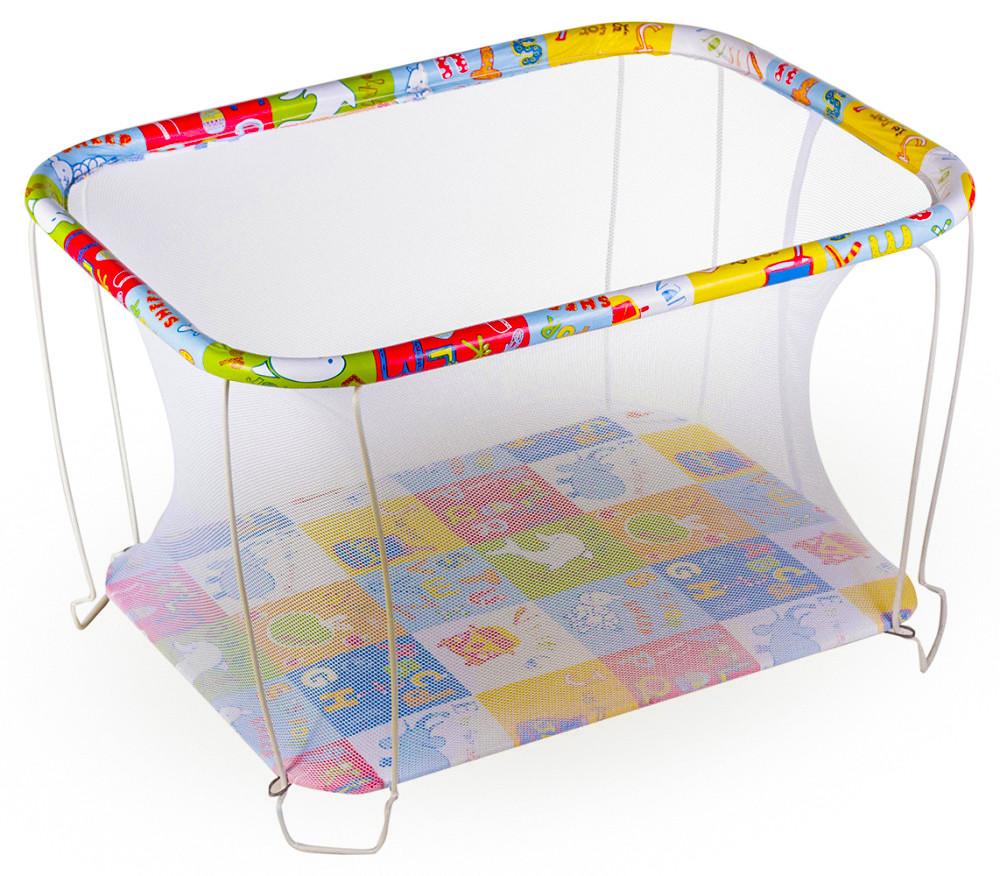 Манеж детский игровой KinderBox классический Азбука с мелкой сеточкой (kmk 202)