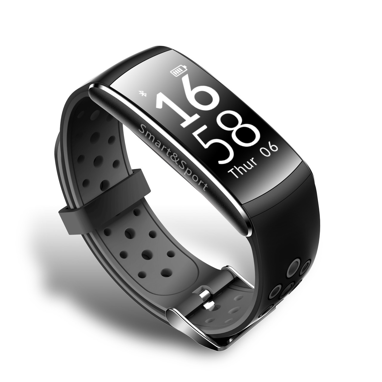 Фитнес браслет тонометр Q8 для iPhone Android давление крови калории шагомер водонепроницаемый черный с серым