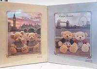 Фотоальбом  Мишки 200 фото(10*15 см) розовый/голубой , подарочный коробок мемо  9109, фото 1
