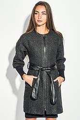 """Пальто женское с поясом, рукав """"Летучая мышь""""64PD161 (Черно-серый Твид)"""