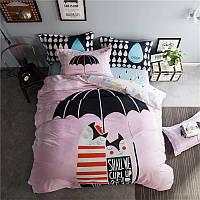 Комплект постельного белья Парочка под зонтом (двуспальный-евро)