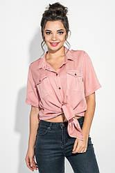 Рубашка женская свободного покроя, короткий рукав 270V001-2 (Коралловый)