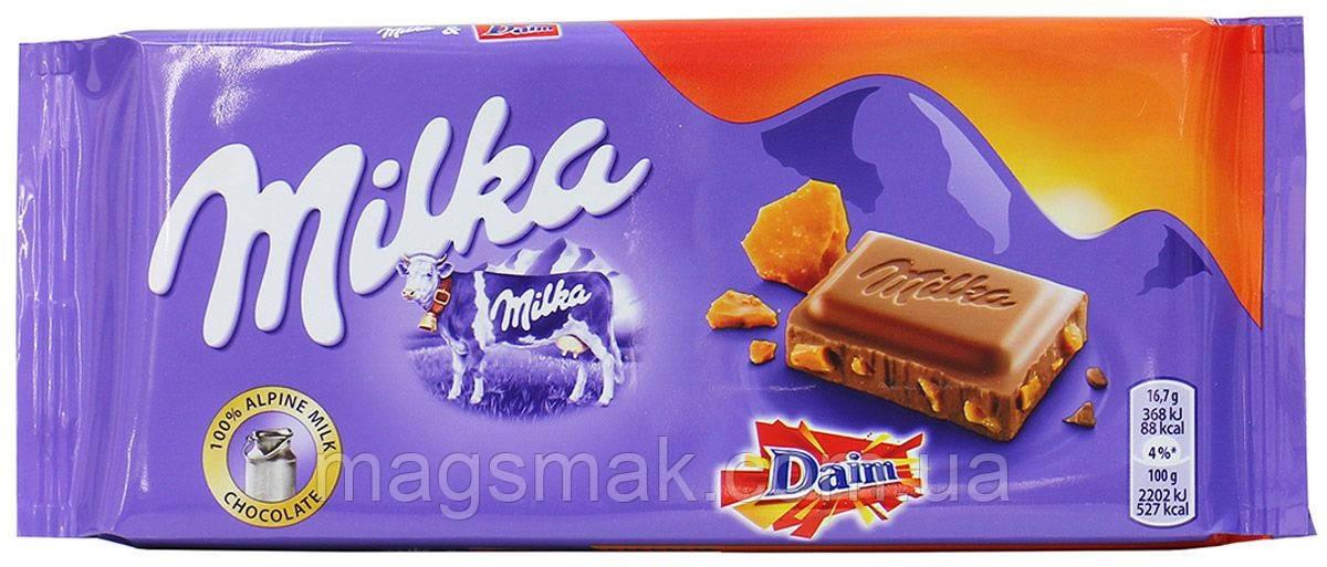 Шоколад Milka с миндалем и карамелью, 100г