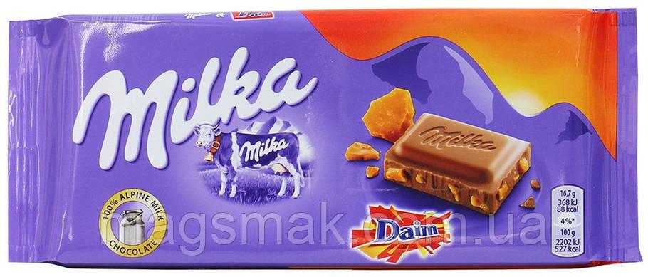 Шоколад Milka с миндалем и карамелью, 100г, фото 2