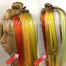 Помаранчеві пряді штучного волосся на кліпсах, кольорові, фото 5