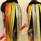 Помаранчеві пряді штучного волосся на кліпсах, кольорові, фото 6