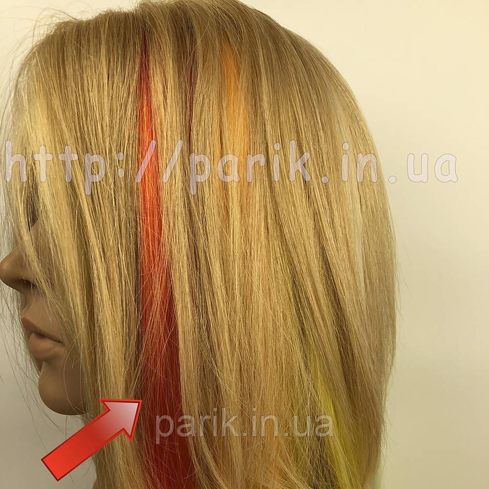 Помаранчеві пряді штучного волосся на кліпсах, кольорові