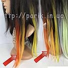 Помаранчеві пряді штучного волосся на кліпсах, кольорові, фото 8