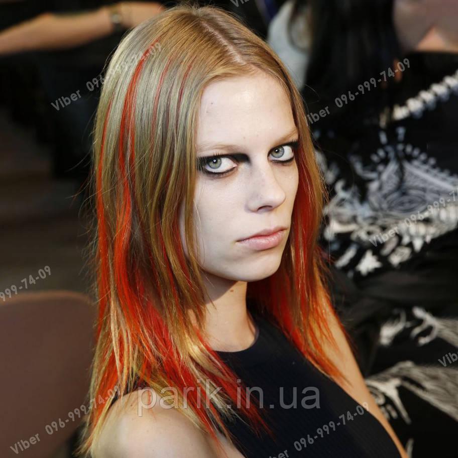 Пряди мини канекалон из волос на заколках оранжевые