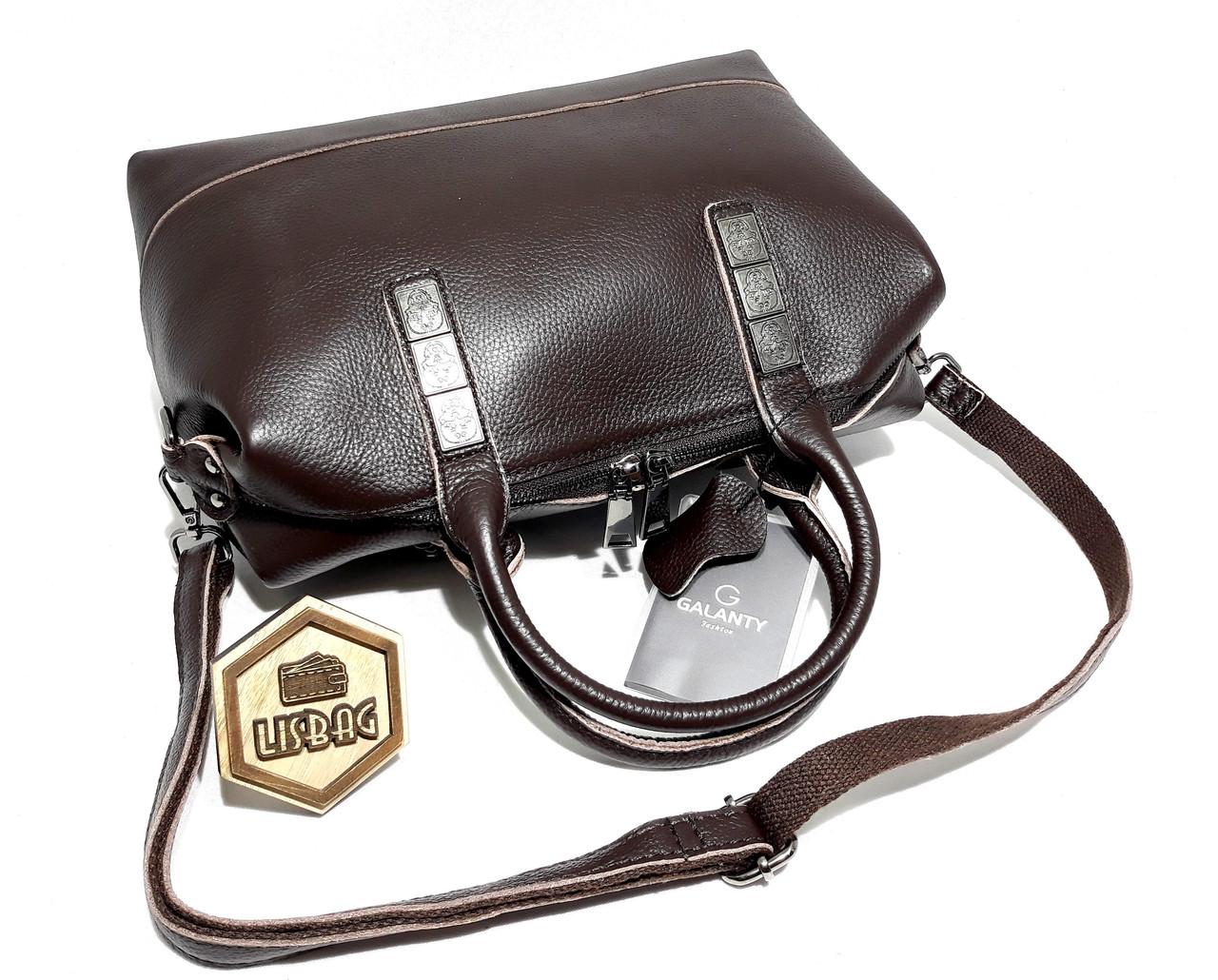 2486e069e6bb ... Вместительная кожаная мягкая женская сумка Galanty Темно-коричневого  (шоколад) цвета, ...