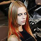 Цветная прядка оранжевая на заколке, фото 5