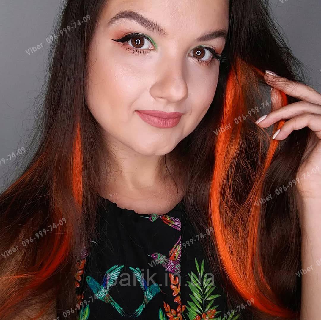 Цветная прядка оранжевая на заколке