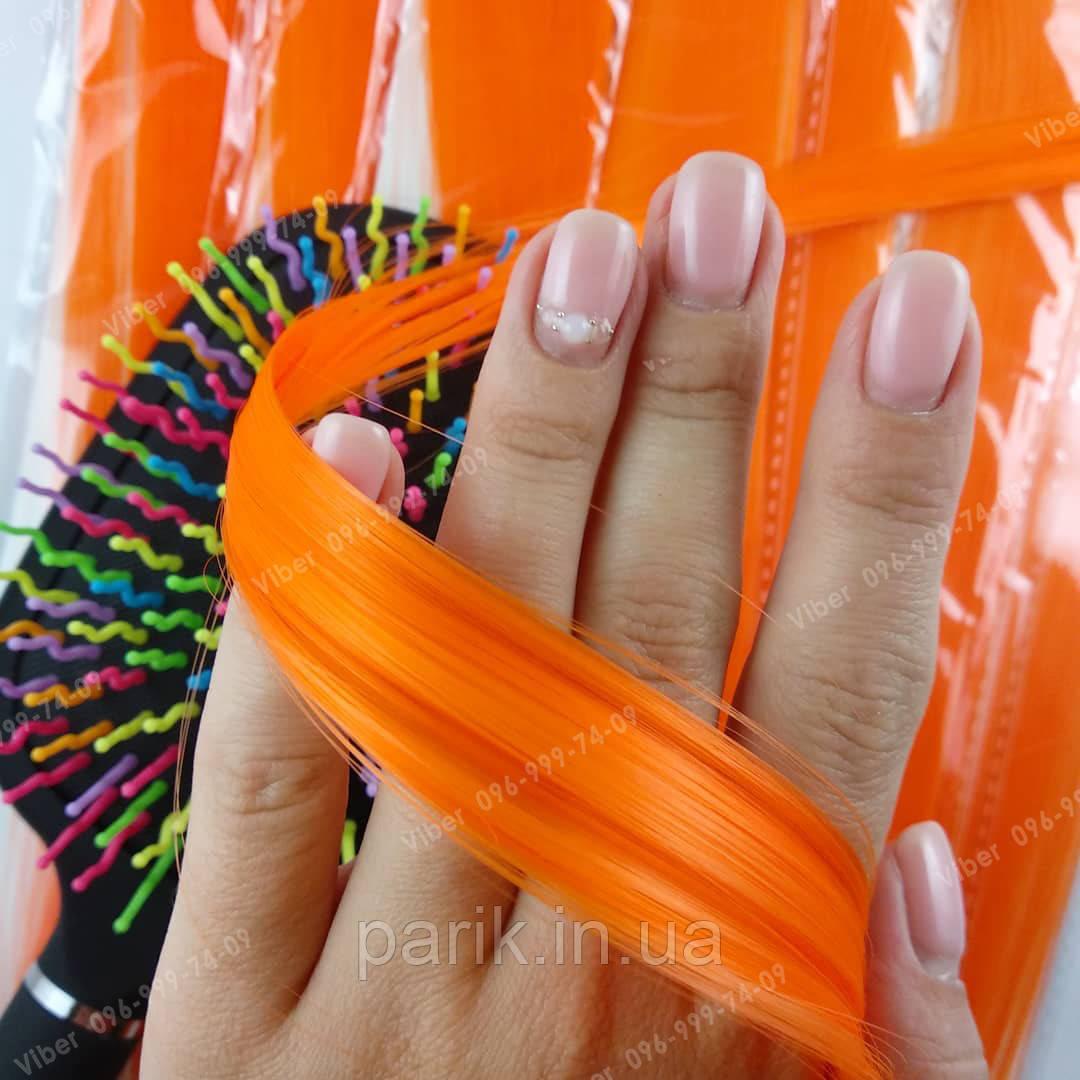 Огненно оранжевые пряди волос на зажимах
