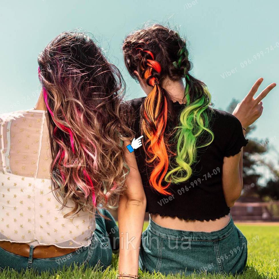 Яркие накладные искусственные пряди волос на заколках