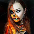 Яркие красно оранжевые пряди искусственных волос, фото 5