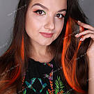 Яркие красно оранжевые пряди искусственных волос, фото 7