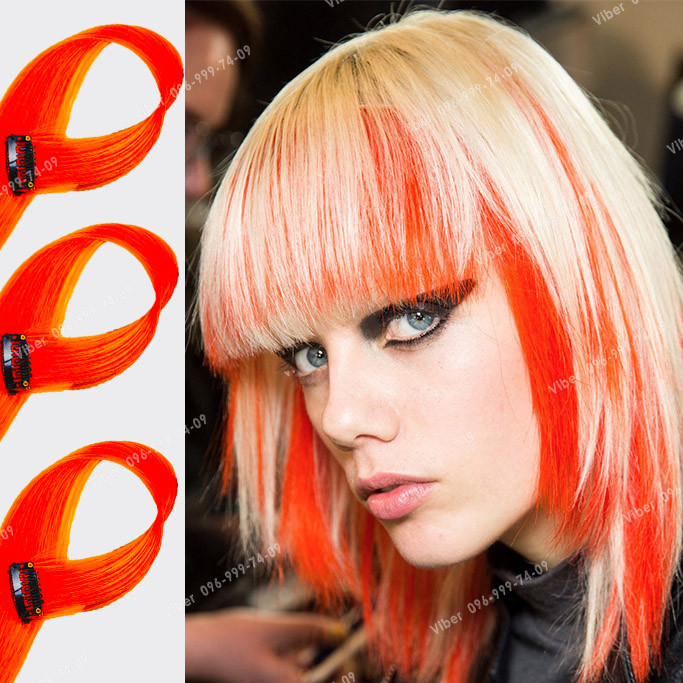 Яркие красно оранжевые пряди искусственных волос