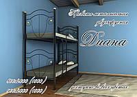 Металлическая двухъярусная кровать Диана ТМ «Металл-Дизайн» Черный бархат/Черный, 1200х1900(2000)