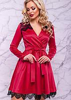 Женское атласное платье с гипюром (3018-3016-3017-3019 svt)