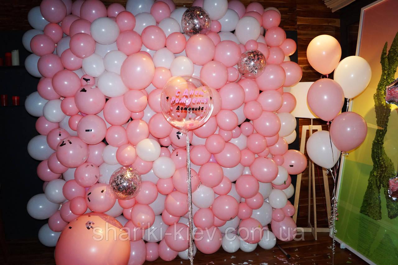 Стена Фотозона из шаров для фотосессии Розовая с Белым - фото 2