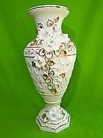 Керамическая напольная ваза «Марсель» белая (лепка)