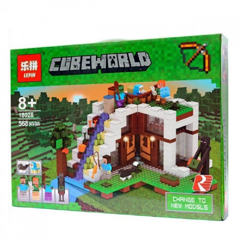 "Конструктор Minecraft Lepin 18028 ""База на водопаде"" 568 деталей"
