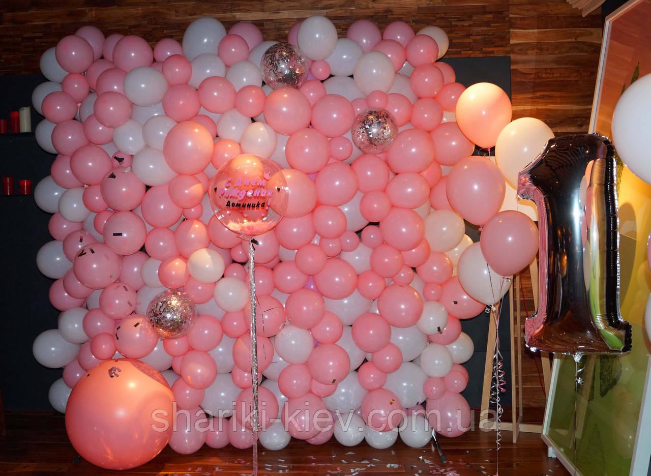 Стена Фотозона из шаров для фотосессии Розовая с Белым - фото 3