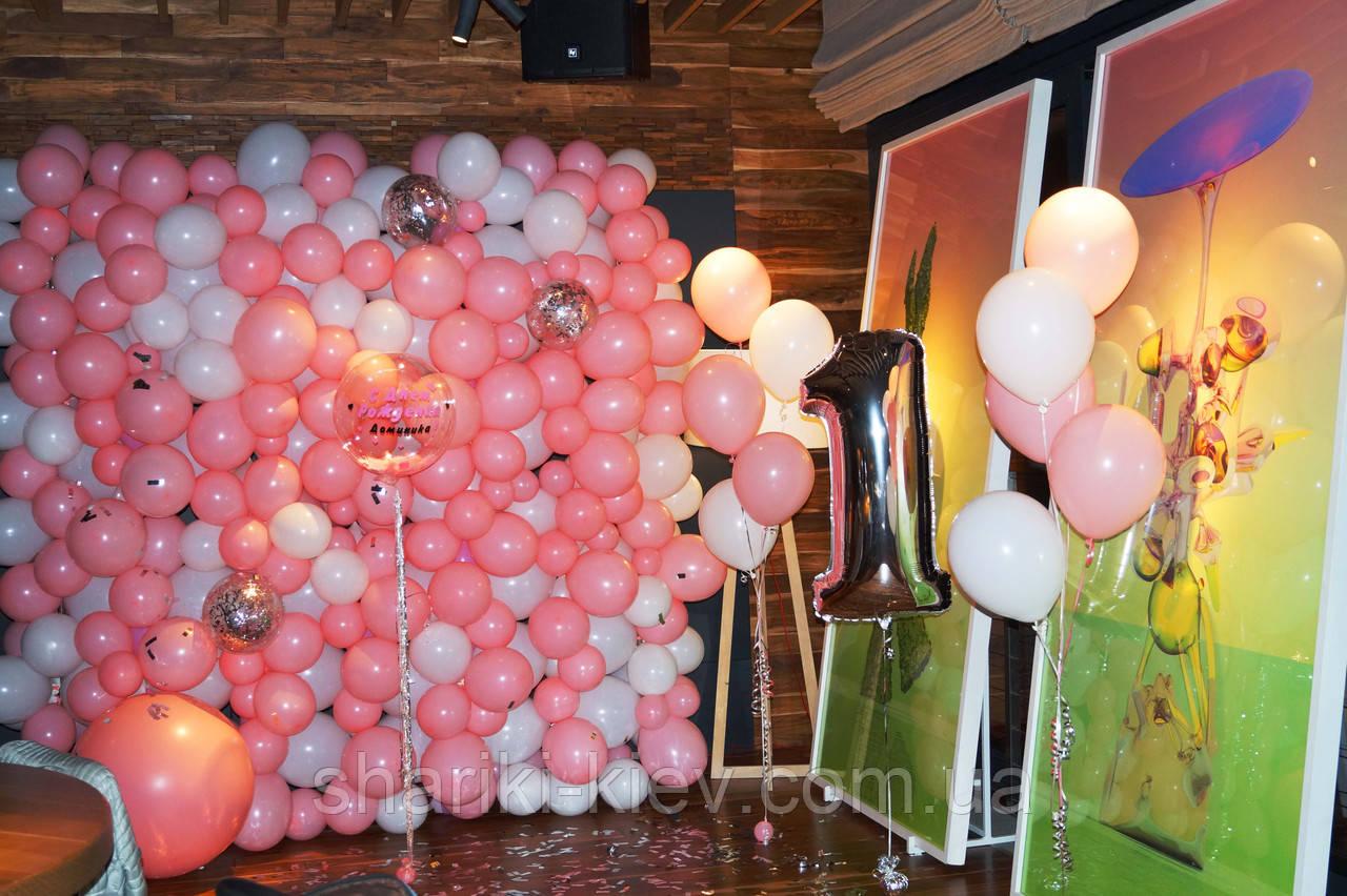 Стена Фотозона из шаров для фотосессии Розовая с Белым - фото 4