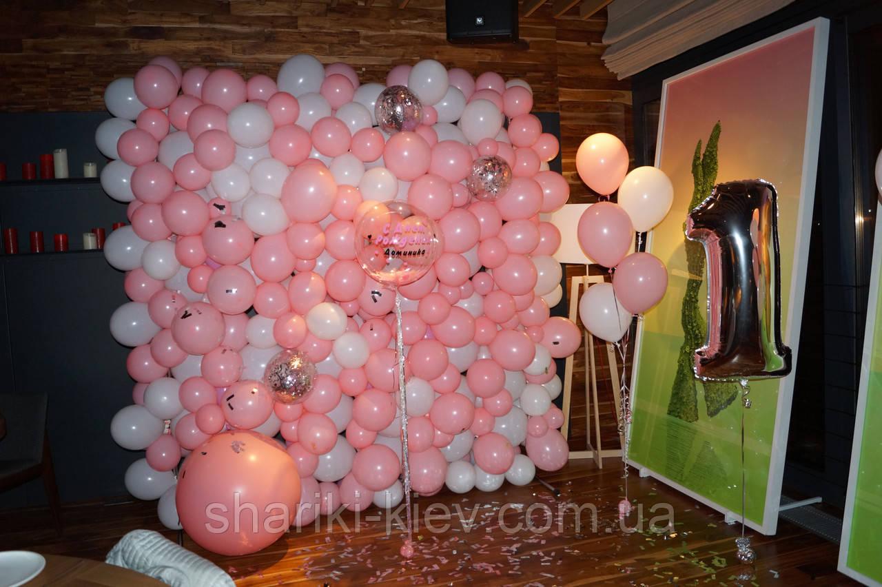 Стена Фотозона из шаров для фотосессии Розовая с Белым - фото 5