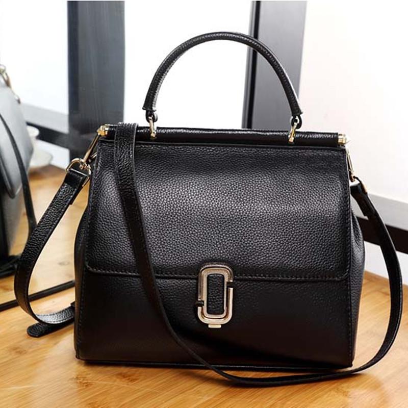 Женская сумка из натуральной кожи черная средних размеров опт