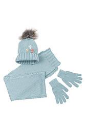 Комплект деткий (для девочки) шапка, шарф и перчатки однотонный, с декором 65PG5109 junior (Голубой)