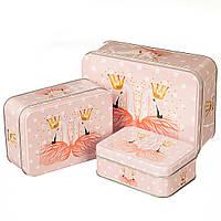 "Набор металлические коробок 3шт. ""Фламинго"" (можно поштучно)"